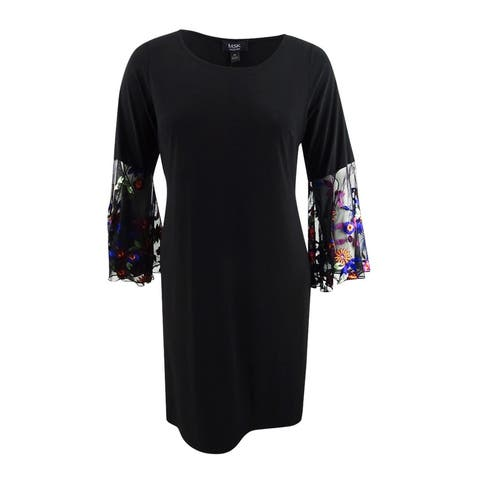 MSK Women's Plus Size Embroidered-Sleeve Fit & Flare Dress - Black/Copper