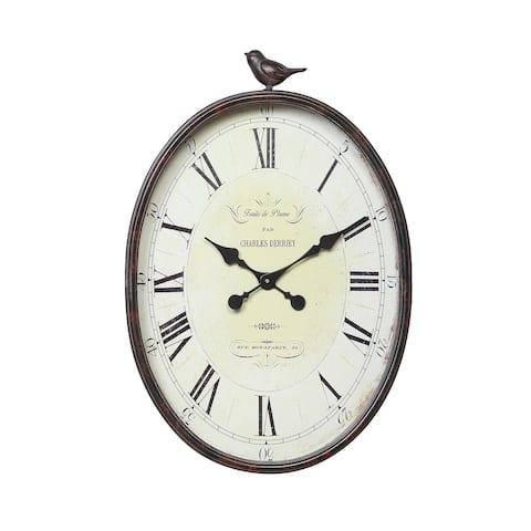 Oval Metal Wall Clock with Bird