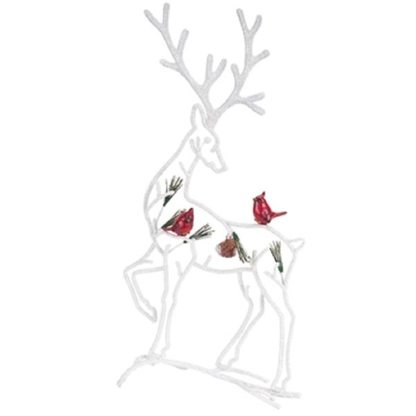 "19.5"" Country Cabin Rustic Reindeer with Cardinals Christmas Table Top Decoration - WHITE"