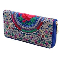Ladies Travel Embroidered Flower Design Zip Up Money Card Coin Wallet Purse