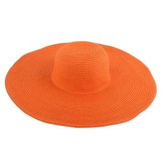 Lady Traveling Wide Brim Straw Braided Summer Beach Sun Bucket Hat Sunhat Orange