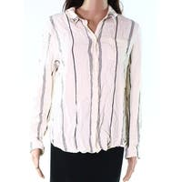 Sanctuary Beige Womens Size Large L Button Down Striped Shirt