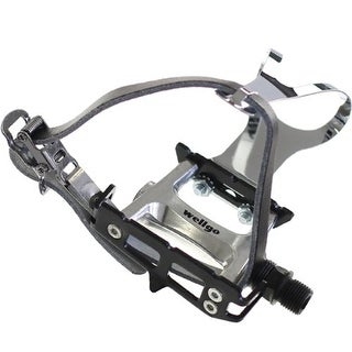 Wellgo Track Fixie Bike Pedals w/ Toe Clips and Leather Strap