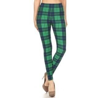 Women's Dark Blue Green Plaid Super Soft Leggings