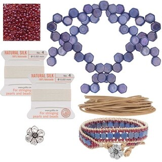Refill - Honeycomb Double Wrapped Loom Bracelet - Raspberry & Blue - Exclusive Beadaholique Jewelry Kit
