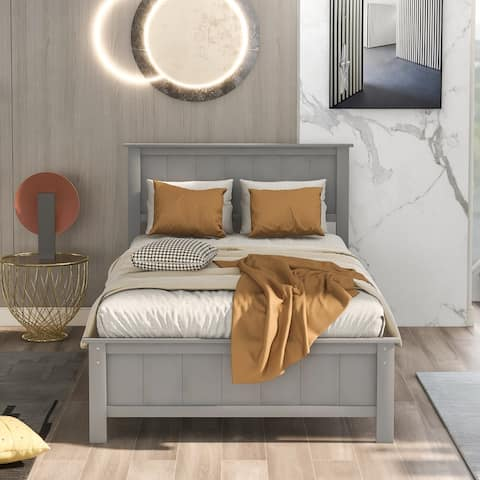 AOOLIVE Twin Size Platform Bed with Headboard and Footboard, Grey
