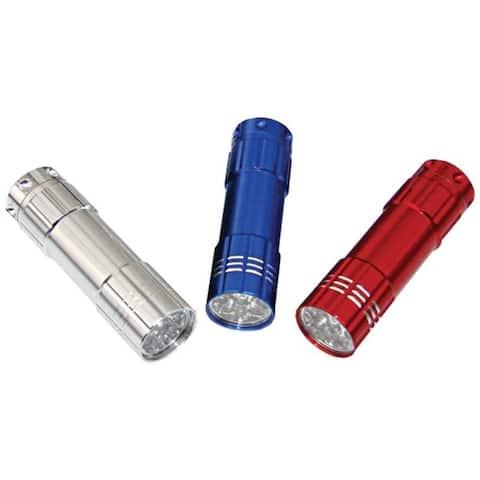 DORCY 41-3246 9-LED Aluminum Flashlights, 3 pk - Red, Silver, Blue