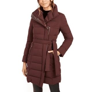 Link to Tahari Women's Asymmetrical Belted Puffer Coat, Merlot Similar Items in Women's Outerwear