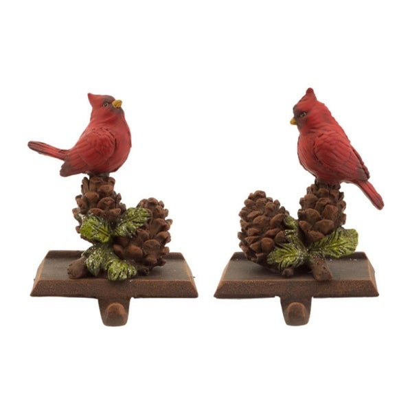 """Pack of 6 In the Birches Red Cardinal with Pine Cones Christmas Stocking Holder 2-Piece Sets 6.5"""""""