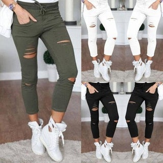 Women Skinny Ripped Pants Hole Tight High Waist Stretch Slim Pencil Trousers