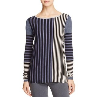 Three Dots Womens Casual Top Striped Colorblock