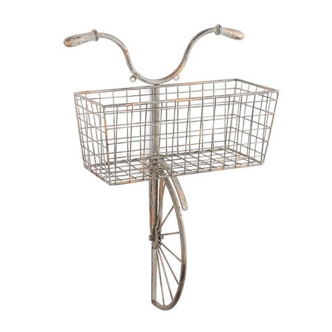 Iron Bicycle Wall Decor - Basket for Storage Magazine Rack Flower Pot Holder - 13 in. x 6 in. x 22 in.