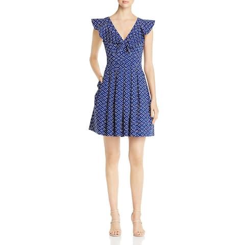 Kate Spade Womens Scuba Dress Polka Dot Ruffled - Amulet Blue