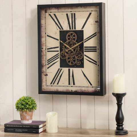 """Glitzhome 23.75""""H Vintage Rectangle Gear Wall Clock with Tempered Glass"""