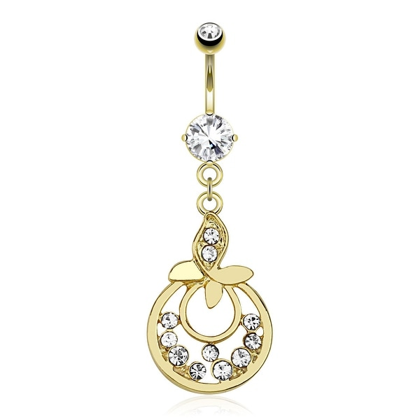 Leaf With Gems and Attached Hoops Between With Multiple CZ Dangle gold-plated Navel Belly Butto