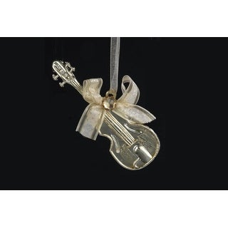 """3.5"""" Champagne Guitar with Ribbon Bow Christmas Ornament"""