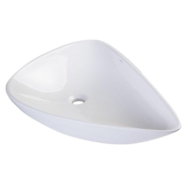 "Eago BA138 26-3/4"" Tear Drop Shaped Ceramic Vessel Bathroom Sink - White"