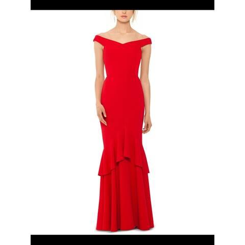 BETSY & ADAM Red Sleeveless Full-Length Sheath Dress Size 6