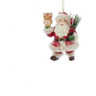 "3.5"" Christmas Long Ago Vintage Santa Claus with Owl Decorative Christmas Ornament"