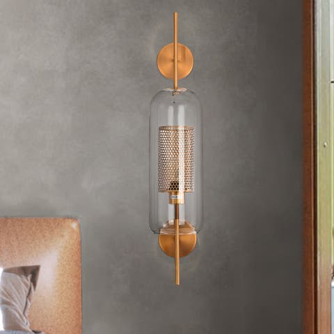Carson Carrington Ydrilt Metallic Gold and Glass Wall Sconce