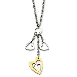 Chisel Stainless Steel IPG 24k Plating Heart with Polished Hearts with CZ 22 Inch Necklace (2 mm) - 22 in