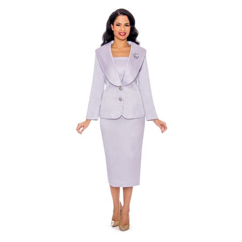 Giovanna Collection Women's Mock 3-piece Shawl Collar Brocade Skirt Suit