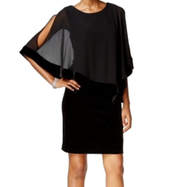 166f2ef3726f Shop MSK Black Womens Size 8 Chiffon Capelet Glitter Velvet Sheath Dress -  Free Shipping On Orders Over $45 - Overstock - 18299399