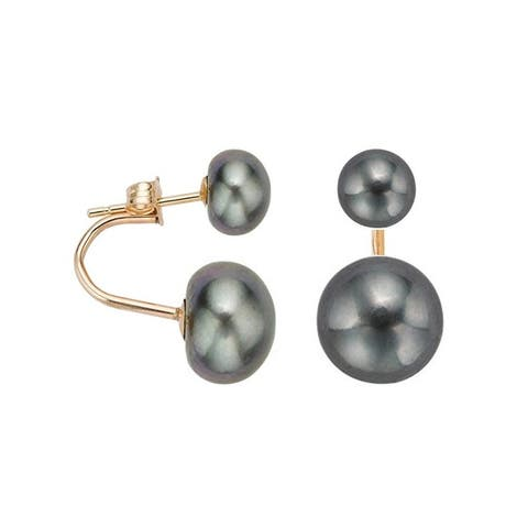 Pearlyta 14k Gold Freshwater Button Pearl Curved Fashion Tribal Earrings (6-8 mm) - Fine Jewelry Gift for Women