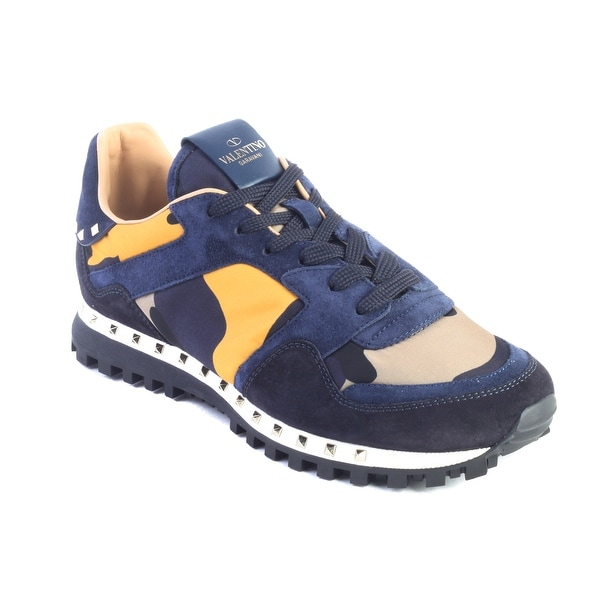 fa88fb7ecd9499 Valentino Men's Rockrunner Camouflage Suede Nylon Sneaker Shoes Navy  Yellow