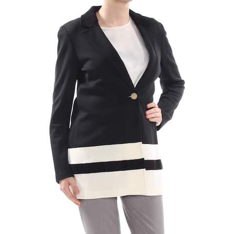 ST JOHN Womens Black Striped Blazer Jacket Size: 8