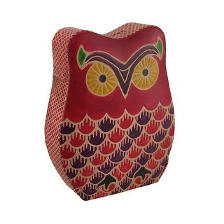 Colorful Embossed Leather Retro Owl Shaped Coin Bank