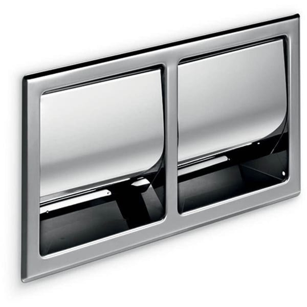 WS Bath Collections A8029D Hotellerie Recessed Double Toilet Paper Holder - Stainless Steel