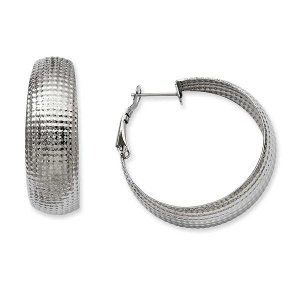 Stainless Steel Textured Hoop Earrings