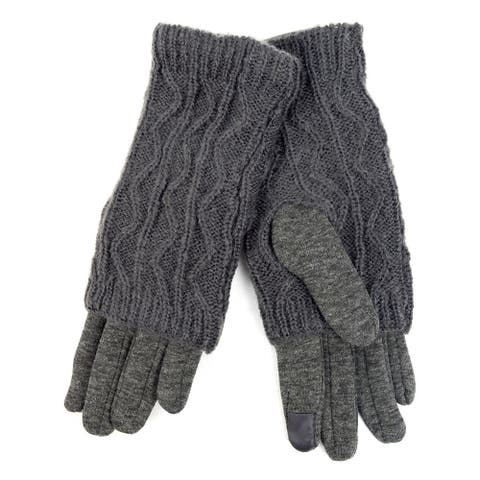 Women's Dark Grey Double Layer Knitted Touch Screen Winter Gloves