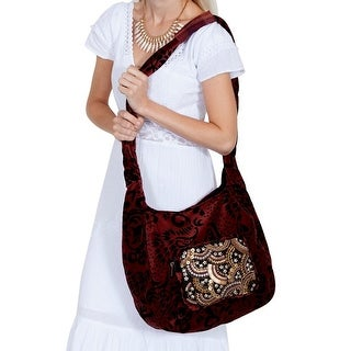 Scully Handbag Womens Velvet Zip Pouch Pocket One Size Auburn C47 - One size