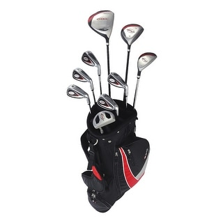New RAM G-Force Men's Complete Golf Set w/ 9 Clubs + Cart Bag - black / red / gray
