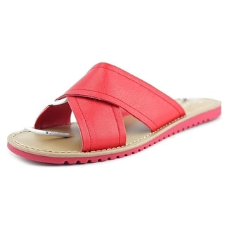 Franco Sarto Quentin Women Open Toe Leather Red Slides Sandal
