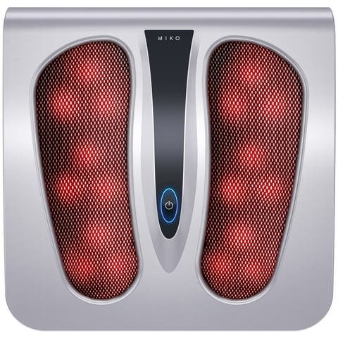 Miko Shiatsu Foot Massager Deep Kneading/Rolling Massage Therapy With Heat Portable (Silver) - silver