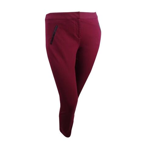Alfani Women's Short Faux-Leather-Trim Slim-Leg Pants (10S, Malbec) - 10S