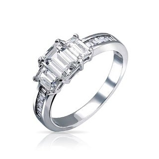 Bling Jewelry .925 Silver Emerald Cut CZ  3 Stone Engagement Ring