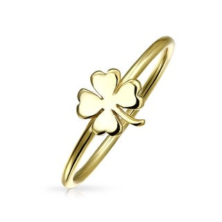 Gold Plated 925 Silver Lucky Four Leaf Clover Midi Ring