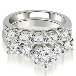 3.00 CT.TW Prong Set Round Cut Diamond Bridal Set in 14KT White gold - White H-I