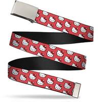 Blank Chrome Bo Buckle Hello Kitty Faces Micro Dots Red White Webbing Web Belt