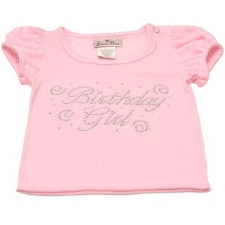 Laura Dare Little Girls Light Pink Jeweled Birthday Shirt 3T