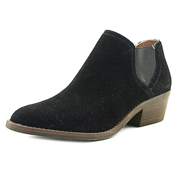 Lucky Brand Frona Women Round Toe Suede Black Ankle Boot