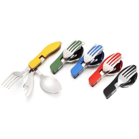 3-In-1 Stainless Steel Folding Spoon, Fork And Knife - Black
