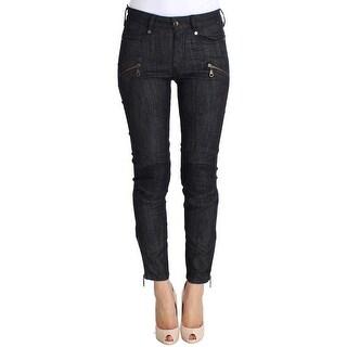 PLEIN SUD PLEIN SUD Blue Cropped Cotton Stretch Skinny Slim Fit Jeans