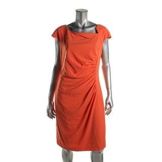 Calvin Klein Womens Wear to Work Dress Ruched Cap Sleeve - 12