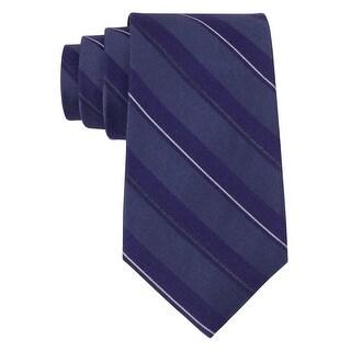 Calvin Klein CK Purple Jeweltone Striped Slim Silk Blend Tie Necktie