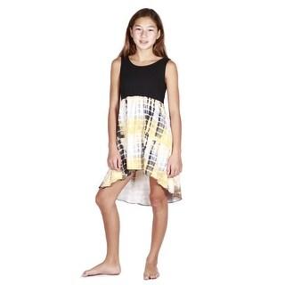 Lori Jane Black Yellow Tie Dye Hi-Low Trendy Dress Big Girls